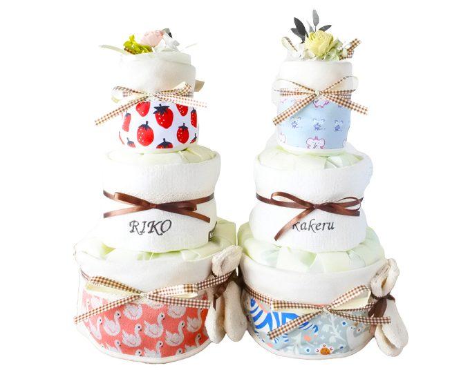 もう迷わない!出産祝いのマナーとリアルにもらって嬉しかったもの ハッティーナーク おむつケーキ オーガニック スタイ 2枚 3段